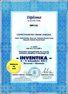 Gold Diploma - Unimodal ceramic electric convector - 2011